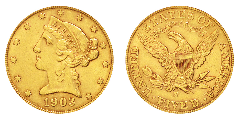1903 S Coronet Head Gold 5 Half Eagle