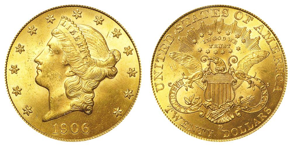 1906 D Coronet Head Gold $20 Double Eagle Liberty Head - Twenty