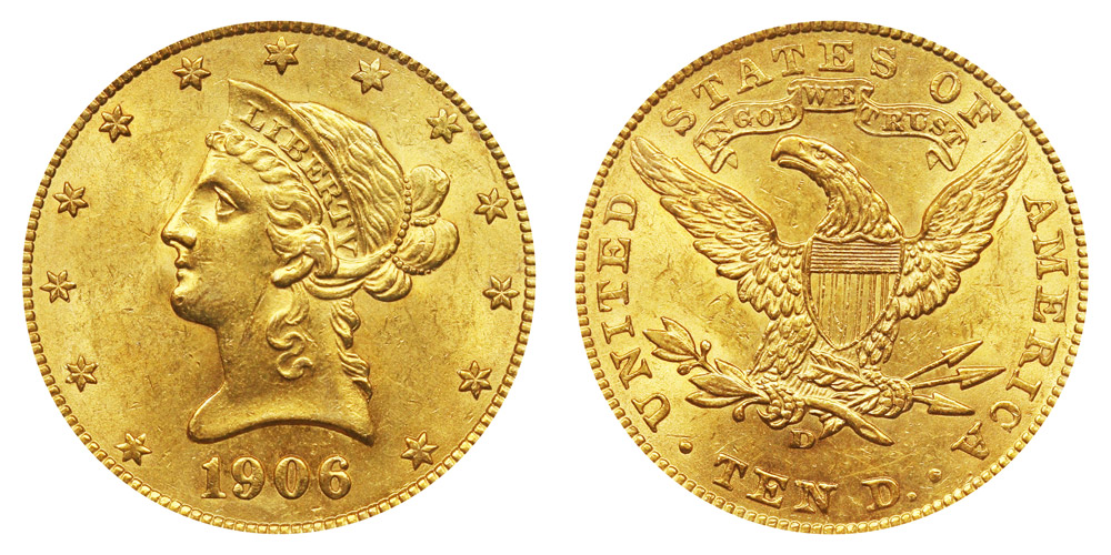 1906 D Coronet Head Gold $10 Eagle New Style Liberty Head - With