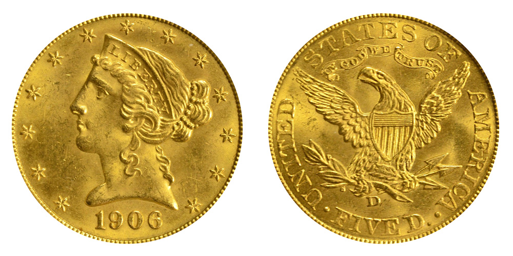 1906 D Coronet Head Gold $5 Half Eagle Type 2 - With Motto