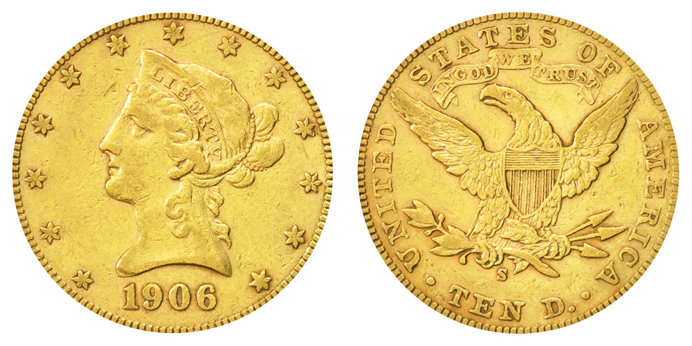 1906 S Coronet Head Gold $10 Eagle New Style Liberty Head - With