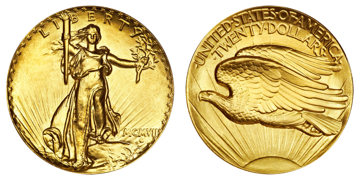 1907 Saint Gaudens Gold $20 Double Eagle Ultra High Relief