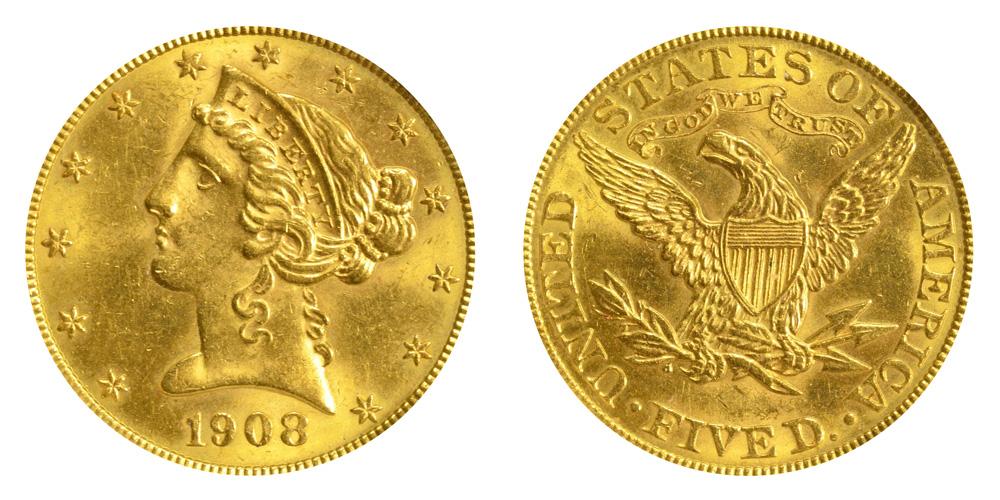 1908 Coronet Head Gold 5 Half Eagle Type 2 With Motto