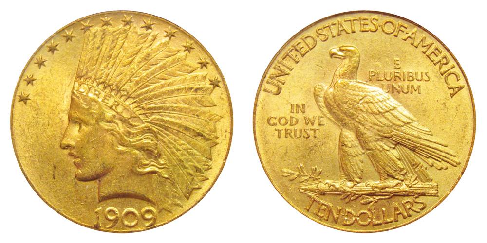 1908 Indian Head 10 Gold Eagle Ten Dollars