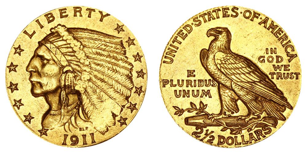 1911 Indian Head 2 50 Gold Quarter Eagle 1 Dollars