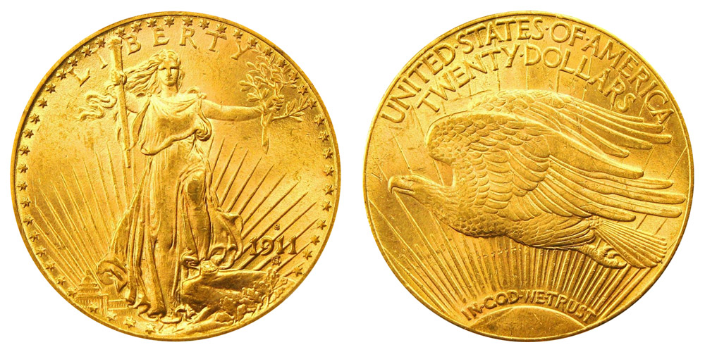 1911 S Saint Gaudens Gold 20 Double Eagle With Motto In
