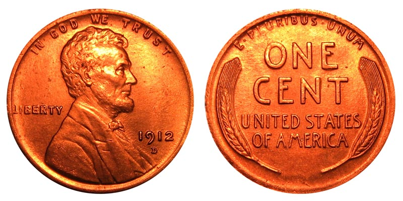 1912 D Lincoln Wheat Cent Bronze Composite Penny Value