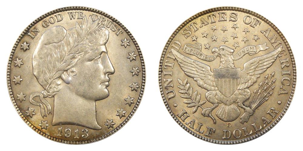 1913 D Barber Silver Half Dollar Average Circulated