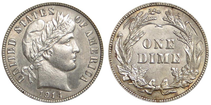 1914 BARBER SILVER DIME IN GOOD CONDITION J-15-18