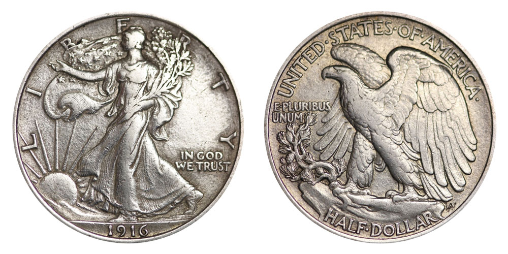 Lot of 5 Walking Liberty Silver Half Dollars 90/% Silver 1916-1947