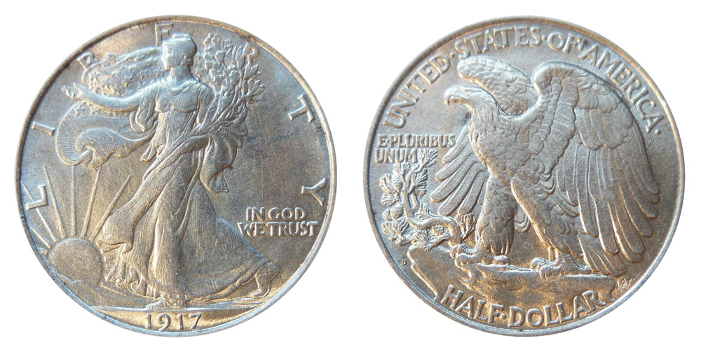 1917 D Walking Liberty Half Dollar Coin Value Prices