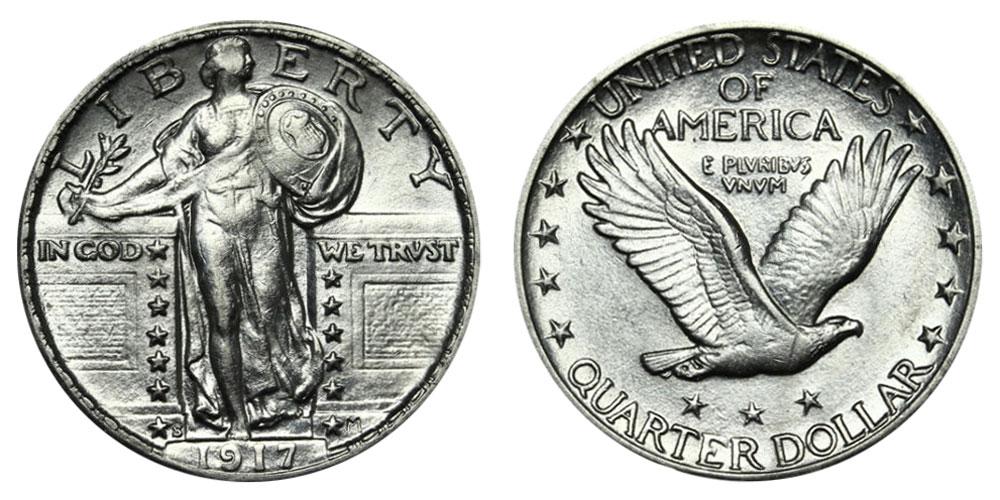 1917 D Type 1 Standing Liberty Quarter No Date
