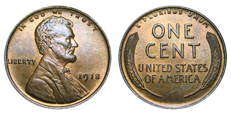 1918 P Lincoln Wheat Cent Bronze Composite Penny Value