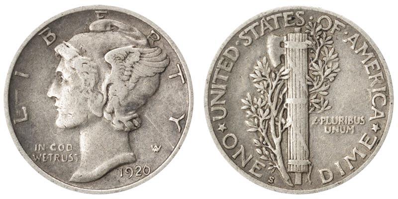 1920 S Mercury Silver Dime Coin Value Prices Photos Info