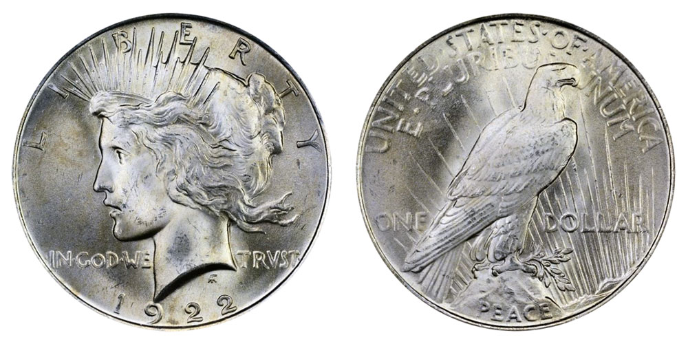 1922 Peace Silver Dollar Normal Relief Coin Value Prices