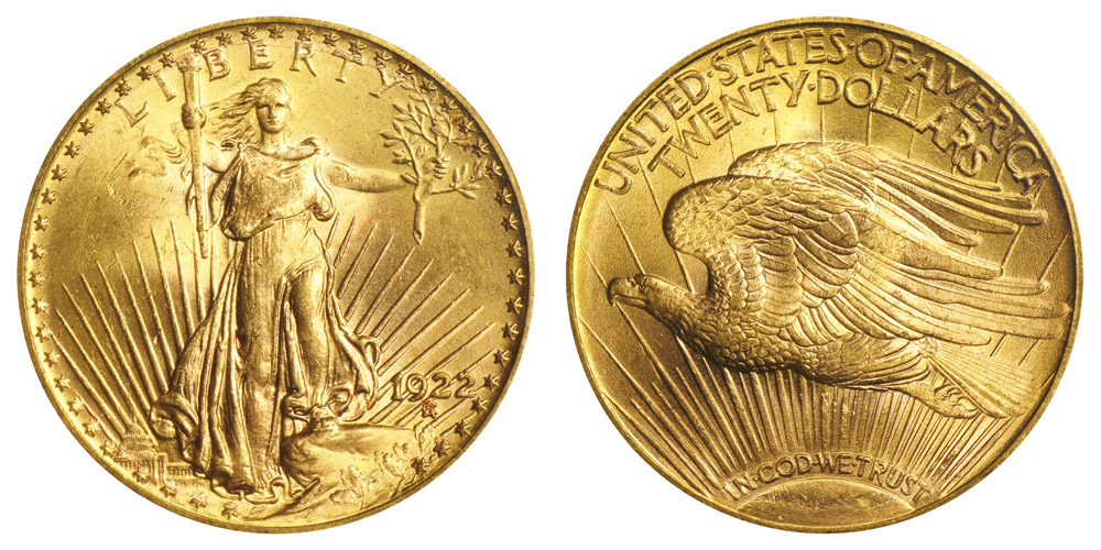1922 Saint Gaudens Gold 20 Double Eagle With Motto In