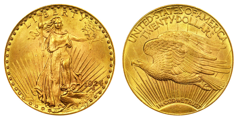 1924 Saint Gaudens Gold 20 Double Eagle With Motto In