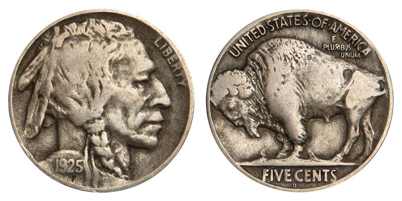 1925 D Buffalo / Indian Head Nickel Coin Value Prices