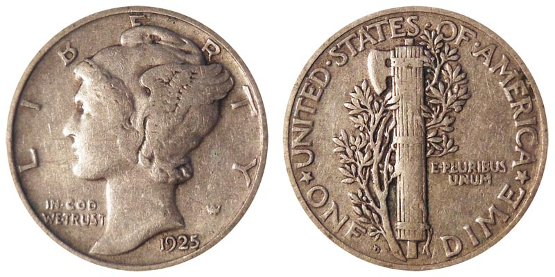 "1925  /""S/""  MERCURY /""Silver/"" DIME"
