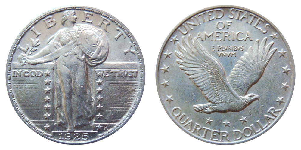 1925 Standing Liberty Quarter Type 2 Coin Value Prices