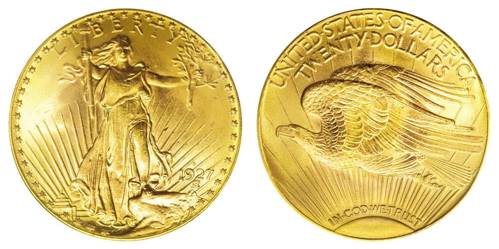 1927 D Saint Gaudens Gold 20 Double Eagle With Motto In