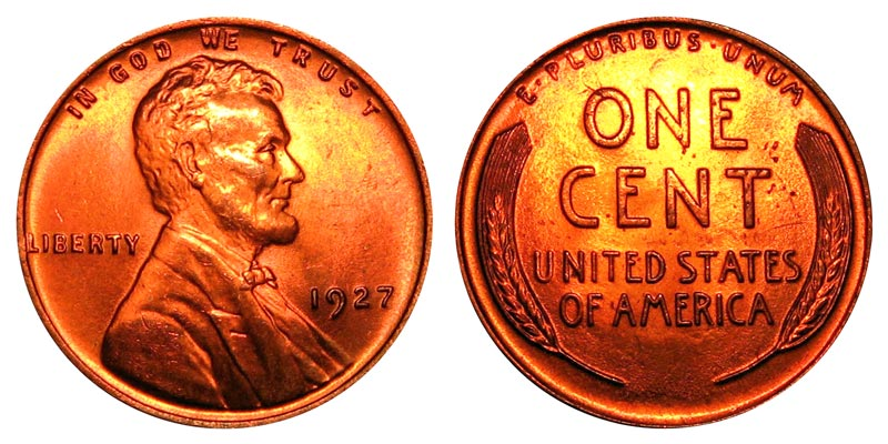 1927 Lincoln Wheat Cent Bronze Composite Penny Value And