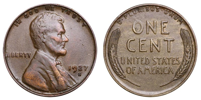 1927 Lincoln Wheat Cent Extra Fine Penny XF