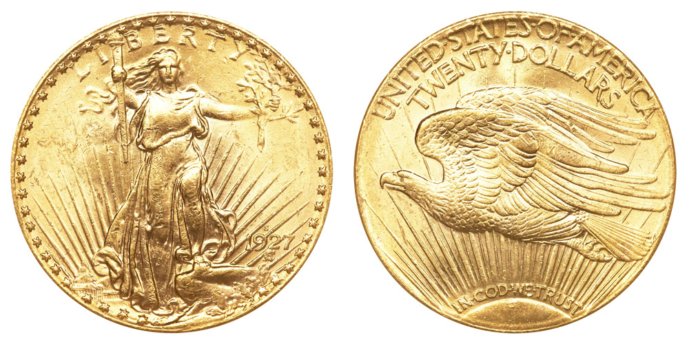 1927 S Saint Gaudens Gold 20 Double Eagle With Motto In
