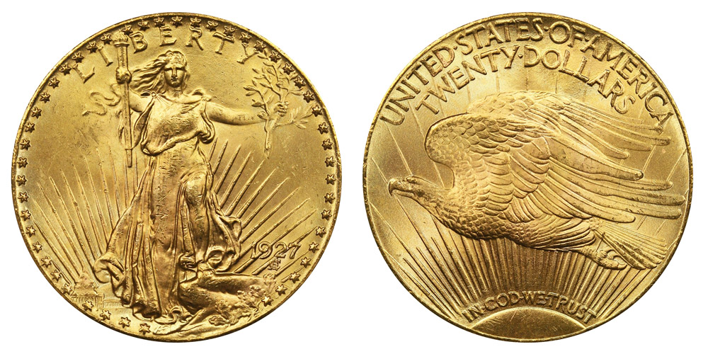 1927 P Saint Gaudens Gold 20 Double Eagle With Motto In