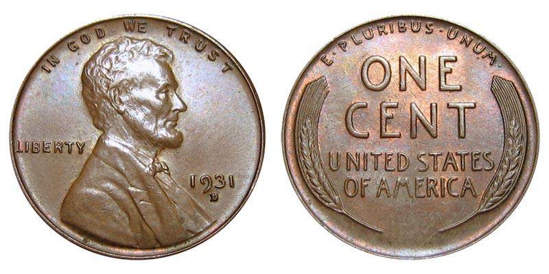 1931 D Lincoln Wheat Cent Bronze Composite Penny Value