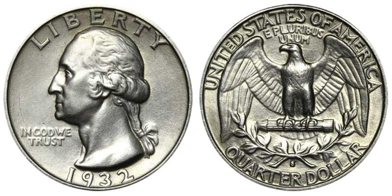 1932 S Washington Silver Quarter Coin Value Prices Photos