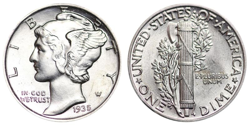 1935 Mercury Silver Dime Coin Value Prices Photos Info