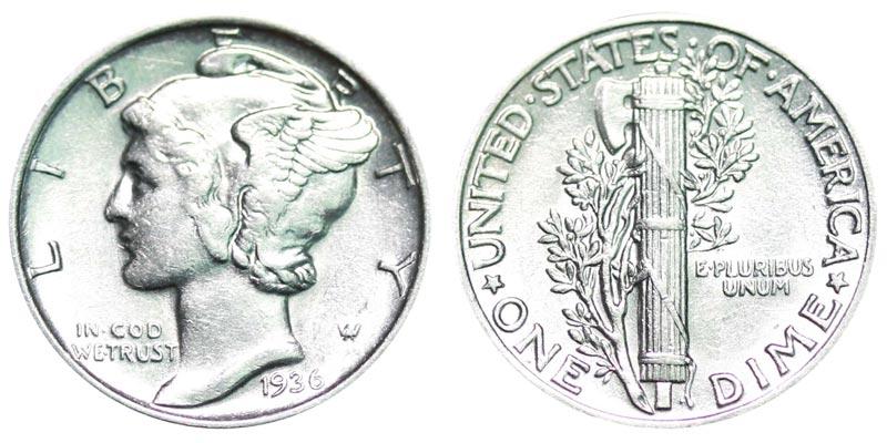 1936 Mercury Silver Dime Coin Value Prices Photos Info