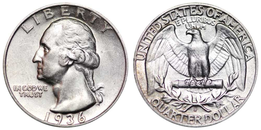 1936 S Washington Silver Quarter