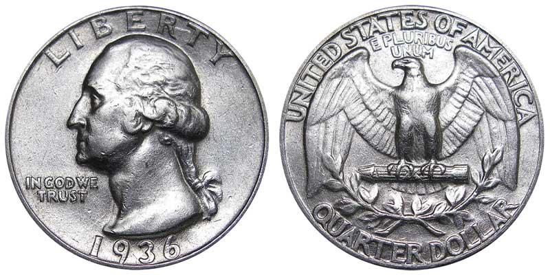 1936 Washington Silver Quarter Coin