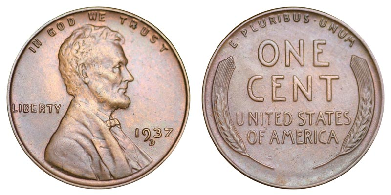 *1937-D* Lincoln Wheat Cent  f-vf   free shipping