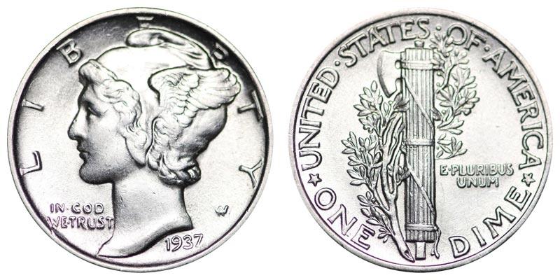 1937 Mercury Silver Dime Coin Value Prices Photos Info