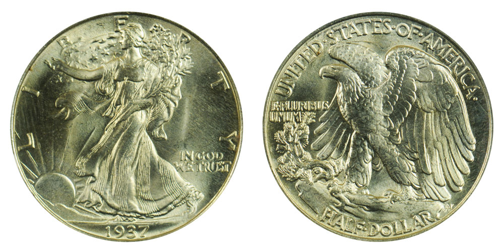 photo about Large Printable Coins named 1937 P Strolling Freedom 50 percent Money Mint Mark upon Opposite
