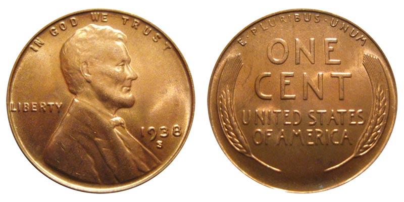 + 1938 S  COPPER PENNY--FINE