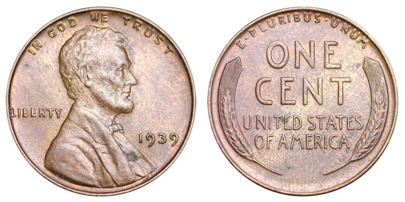 1939 P Lincoln Wheat Cent Small Cents Bronze Composite Penny