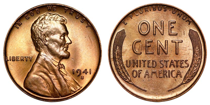 BU Beautiful Mint-State Wheat Penny 1941 P Lincoln Cent