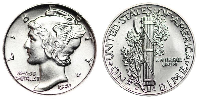 1941 mercury dime coin value