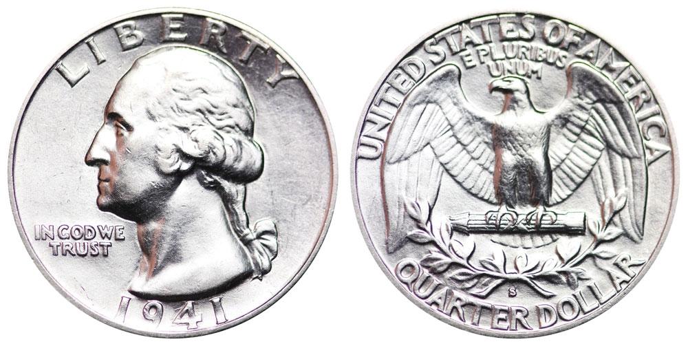 1941 S Washington Silver Quarter Coin Value Prices, Photos
