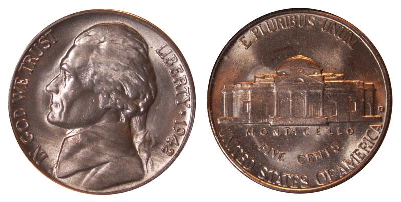 -- 1942-D Jefferson Nickel Almost Uncirculated Looks BU w// Full Steps - +