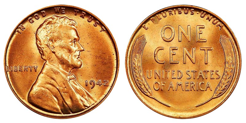 nice condition 1942-P LINCOLN WHEAT CENT PENNY ROLL