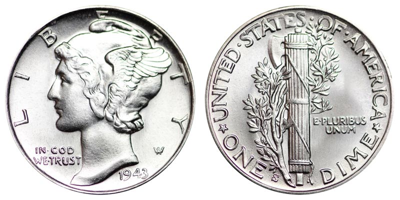 1943 s mercury dimes winged liberty silver dime value and for Mercerie nimes