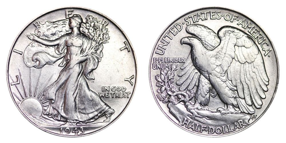 1943 walking liberty half dollars value and prices