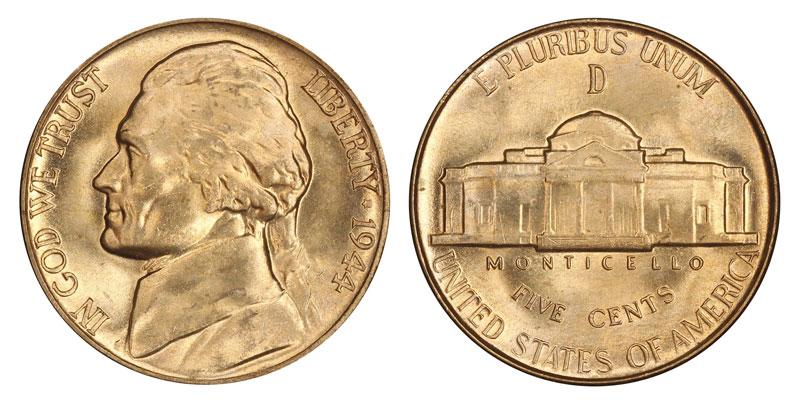 1944 D Jefferson Nickels