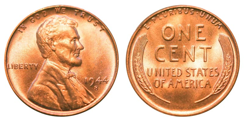 1944 s lincoln wheat cent bronze composite penny value and prices. Black Bedroom Furniture Sets. Home Design Ideas
