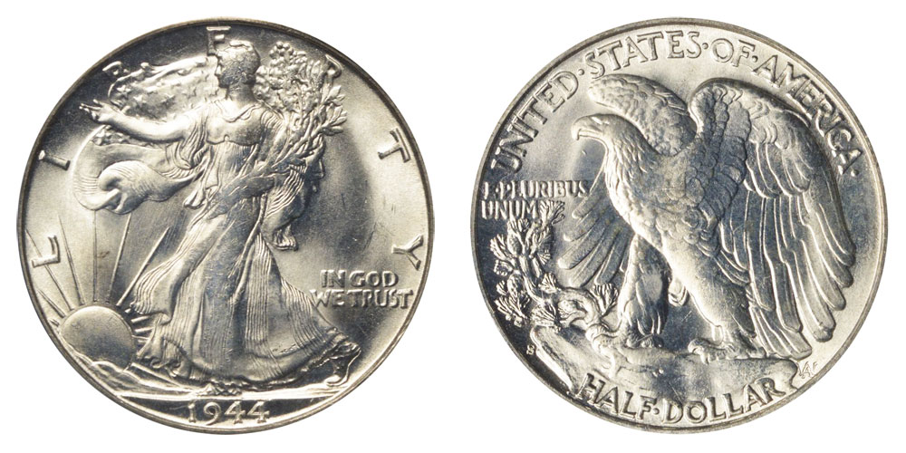 1944 s walking liberty half dollars value and prices